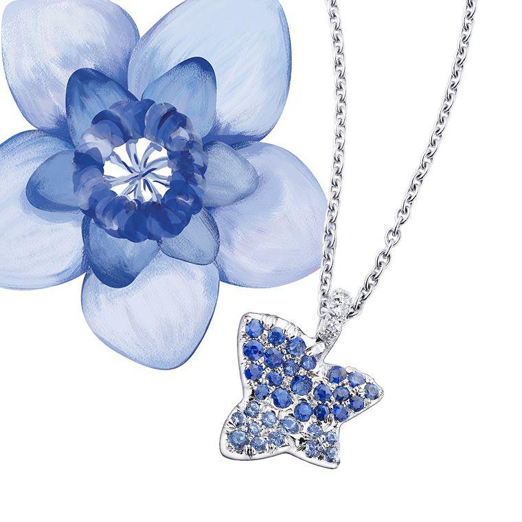 Pendentif Tu es la Sublime Fleur de ma Vie saphirs