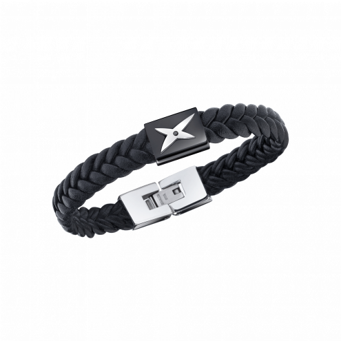 Bracelet Mec j'te Kiff, noir et barrette noire