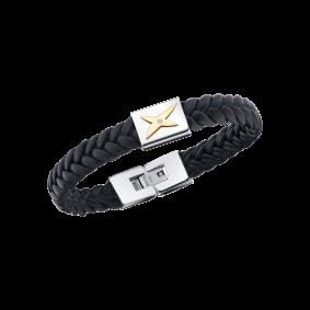 Bracelet Mec j'te Kiff, noir et barrette blanche